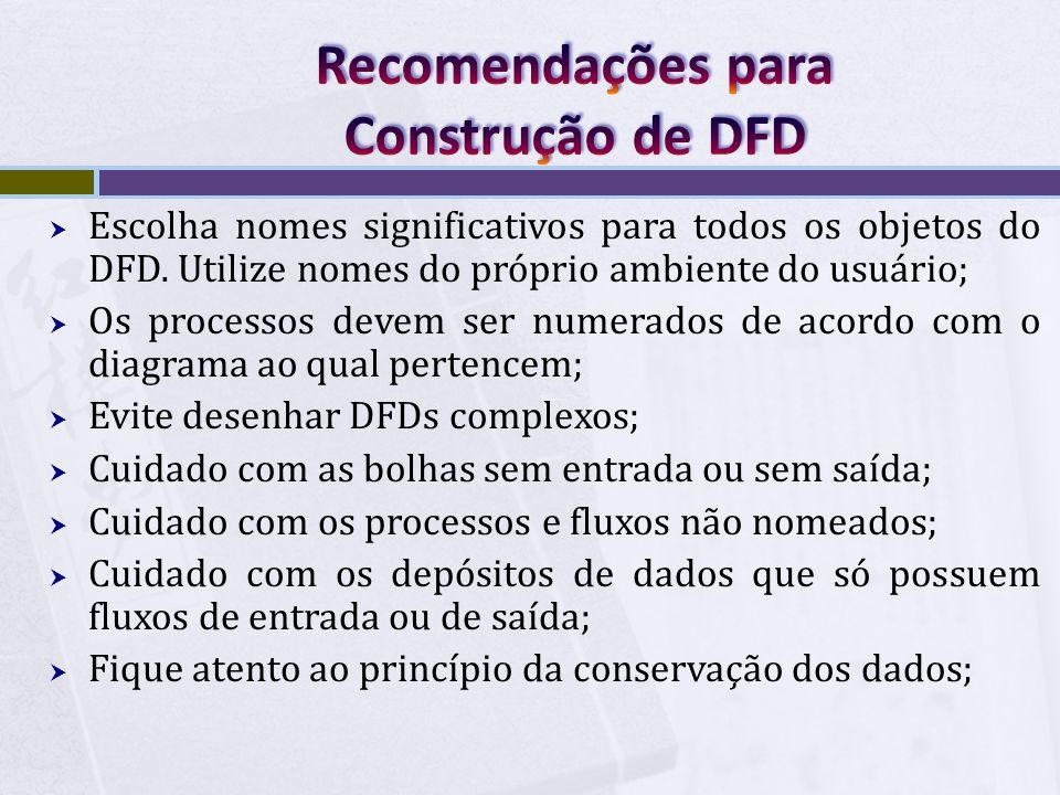  Escolha nomes significativos para todos os objetos do DFD. Utilize nomes do próprio ambiente do usuário;  Os processos devem ser numerados de acord