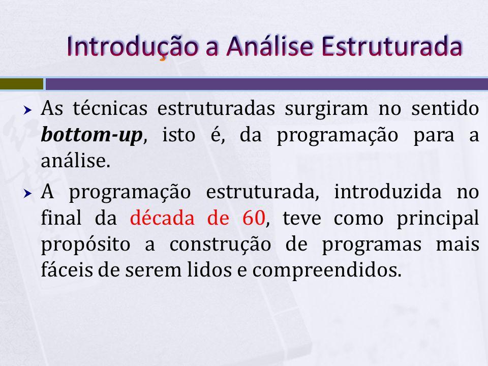  As técnicas estruturadas surgiram no sentido bottom-up, isto é, da programação para a análise.  A programação estruturada, introduzida no final da