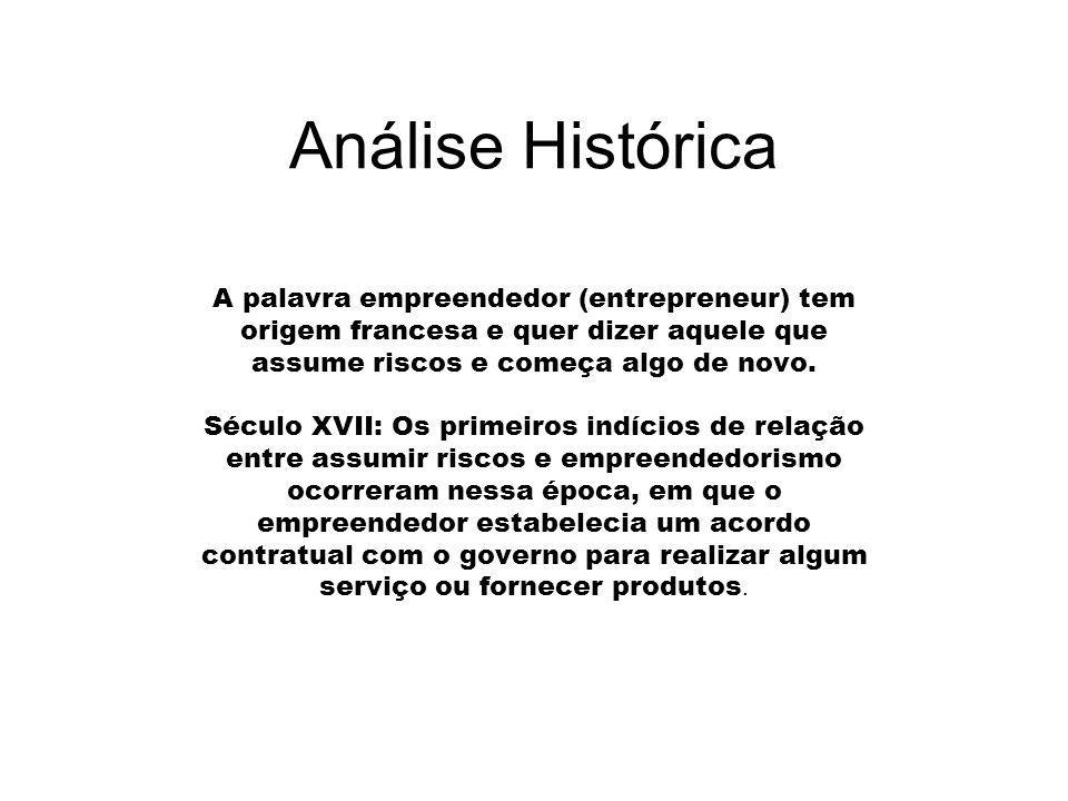 Análise Histórica A palavra empreendedor (entrepreneur) tem origem francesa e quer dizer aquele que assume riscos e começa algo de novo.