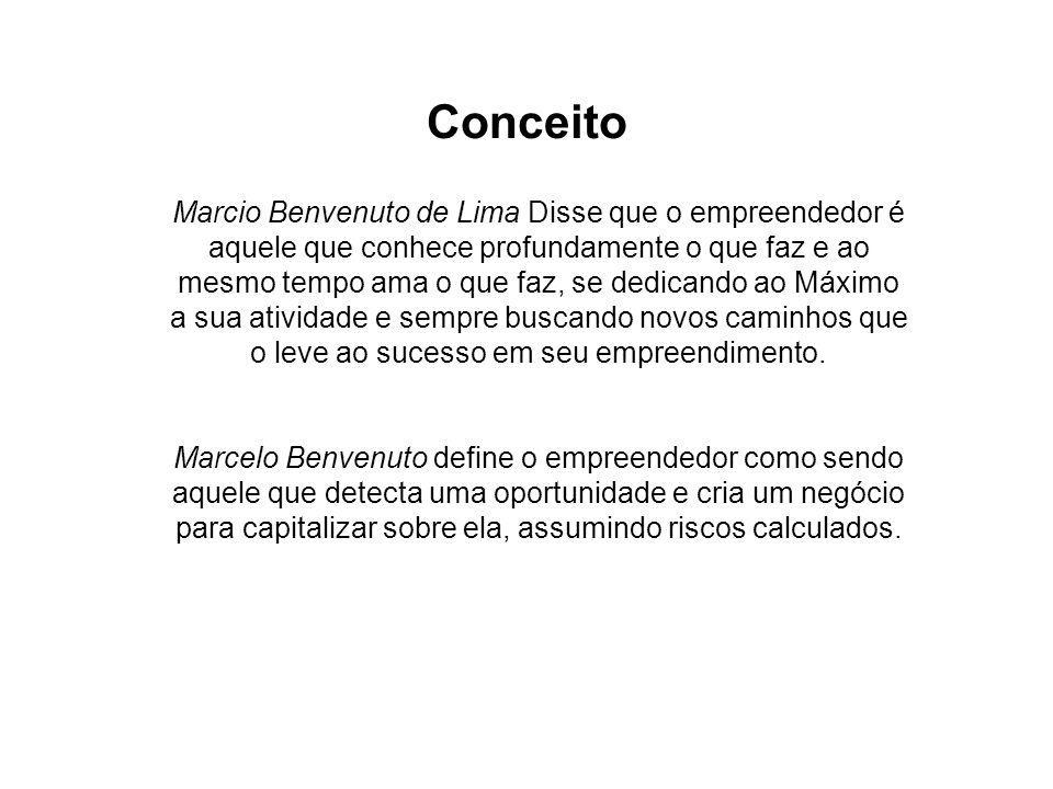 Conceito Marcio Benvenuto de Lima Disse que o empreendedor é aquele que conhece profundamente o que faz e ao mesmo tempo ama o que faz, se dedicando ao Máximo a sua atividade e sempre buscando novos caminhos que o leve ao sucesso em seu empreendimento.