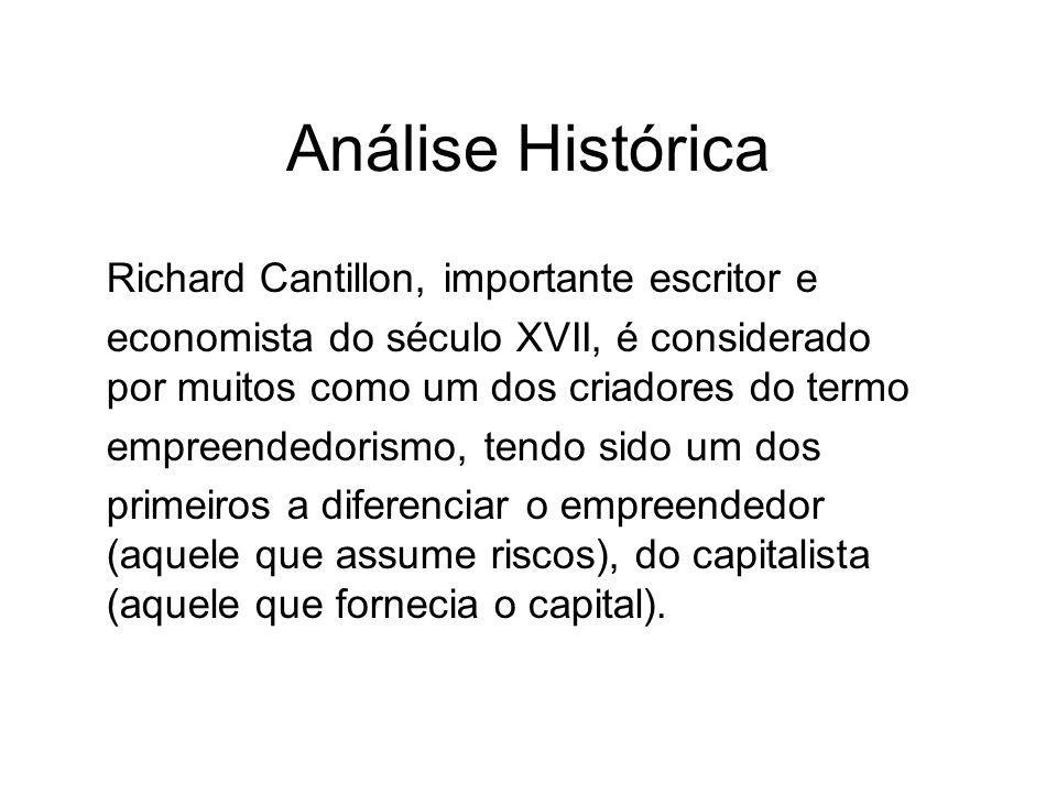 Análise Histórica Richard Cantillon, importante escritor e economista do século XVII, é considerado por muitos como um dos criadores do termo empreendedorismo, tendo sido um dos primeiros a diferenciar o empreendedor (aquele que assume riscos), do capitalista (aquele que fornecia o capital).