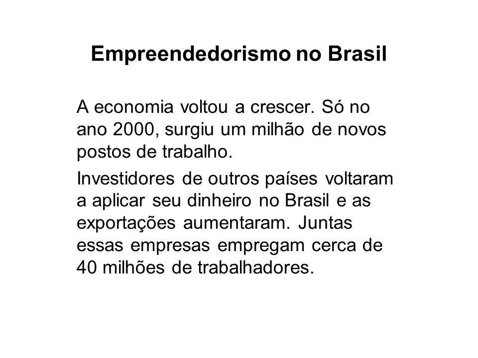 Empreendedorismo no Brasil A economia voltou a crescer.