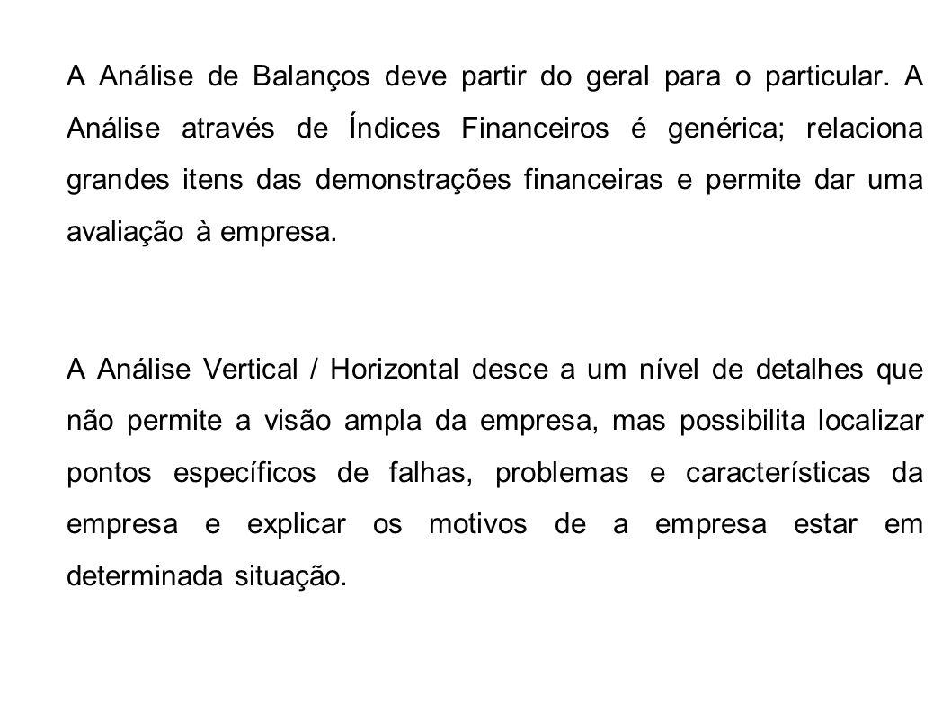 A Análise de Balanços deve partir do geral para o particular. A Análise através de Índices Financeiros é genérica; relaciona grandes itens das demonst