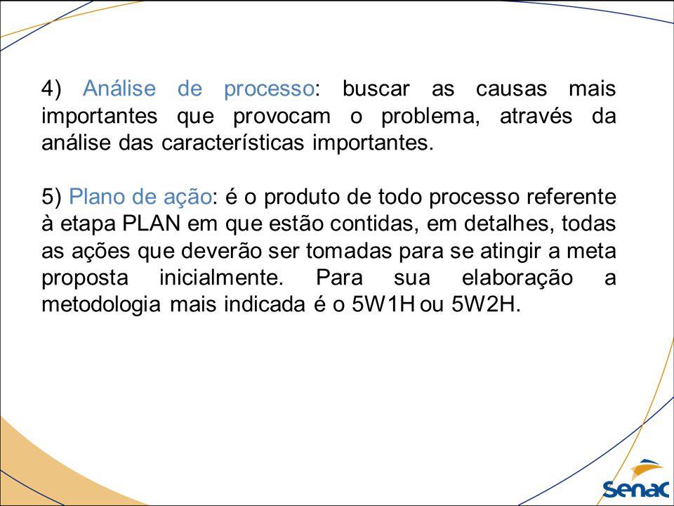 4) Análise de processo: buscar as causas mais importantes que provocam o problema, através da análise das características importantes. 5) Plano de açã