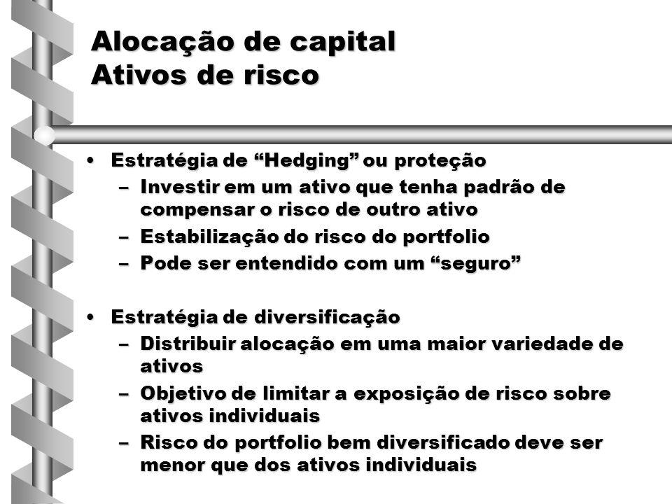 Estratégia de Hedging ou proteçãoEstratégia de Hedging ou proteção –Investir em um ativo que tenha padrão de compensar o risco de outro ativo –Estabilização do risco do portfolio –Pode ser entendido com um seguro Estratégia de diversificaçãoEstratégia de diversificação –Distribuir alocação em uma maior variedade de ativos –Objetivo de limitar a exposição de risco sobre ativos individuais –Risco do portfolio bem diversificado deve ser menor que dos ativos individuais Alocação de capital Ativos de risco