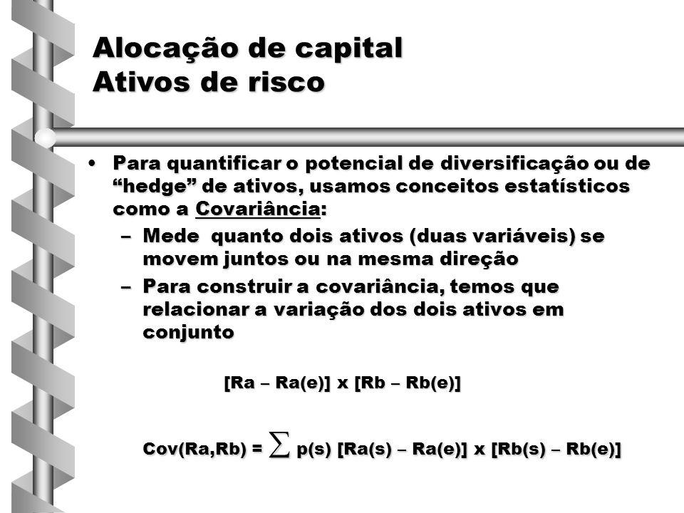 Para quantificar o potencial de diversificação ou de hedge de ativos, usamos conceitos estatísticos como a Covariância:Para quantificar o potencial de diversificação ou de hedge de ativos, usamos conceitos estatísticos como a Covariância: –Mede quanto dois ativos (duas variáveis) se movem juntos ou na mesma direção –Para construir a covariância, temos que relacionar a variação dos dois ativos em conjunto [Ra – Ra(e)] x [Rb – Rb(e)] Cov(Ra,Rb) =  p(s) [Ra(s) – Ra(e)] x [Rb(s) – Rb(e)] Alocação de capital Ativos de risco