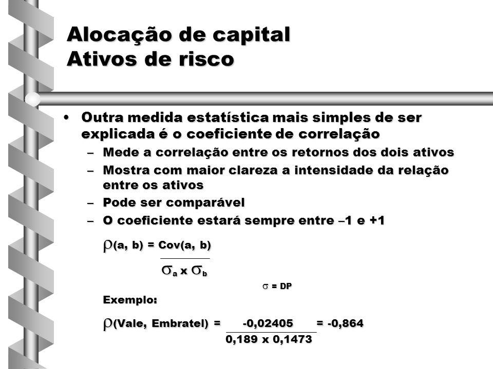 Outra medida estatística mais simples de ser explicada é o coeficiente de correlaçãoOutra medida estatística mais simples de ser explicada é o coeficiente de correlação –Mede a correlação entre os retornos dos dois ativos –Mostra com maior clareza a intensidade da relação entre os ativos –Pode ser comparável –O coeficiente estará sempre entre –1 e +1  (a, b) = Cov(a, b)  a x  b  = DP  = DPExemplo:  (Vale, Embratel) = -0,02405 = -0,864 0,189 x 0,1473 0,189 x 0,1473 Alocação de capital Ativos de risco
