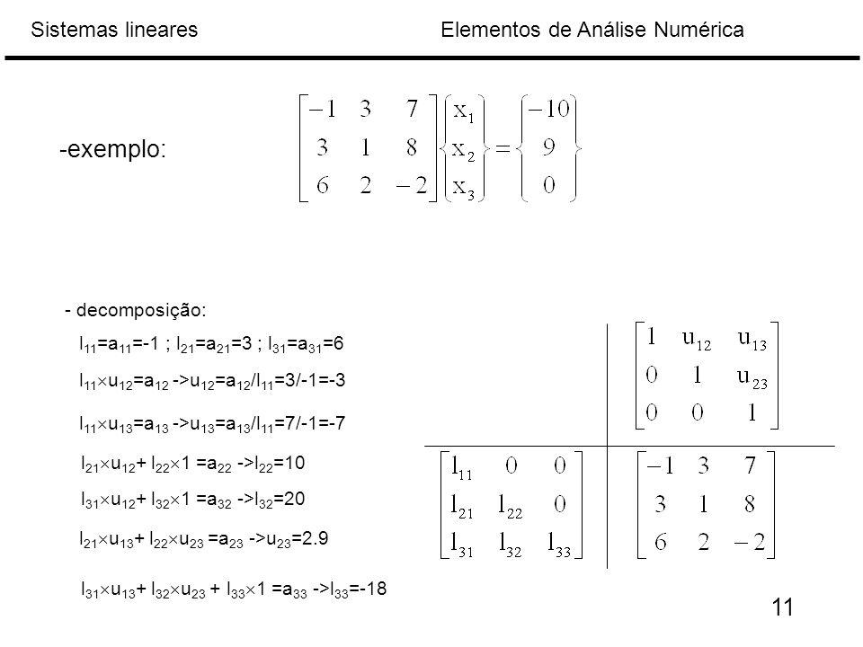 Elementos de Análise NuméricaSistemas lineares -exemplo: - decomposição: l 11 =a 11 =-1 ; l 21 =a 21 =3 ; l 31 =a 31 =6 l 11  u 12 =a 12 ->u 12 =a 12 /l 11 =3/-1=-3 l 11  u 13 =a 13 ->u 13 =a 13 /l 11 =7/-1=-7 l 21  u 12 + l 22  1 =a 22 ->l 22 =10 l 31  u 12 + l 32  1 =a 32 ->l 32 =20 l 21  u 13 + l 22  u 23 =a 23 ->u 23 =2.9 l 31  u 13 + l 32  u 23 + l 33  1 =a 33 ->l 33 =-18 11