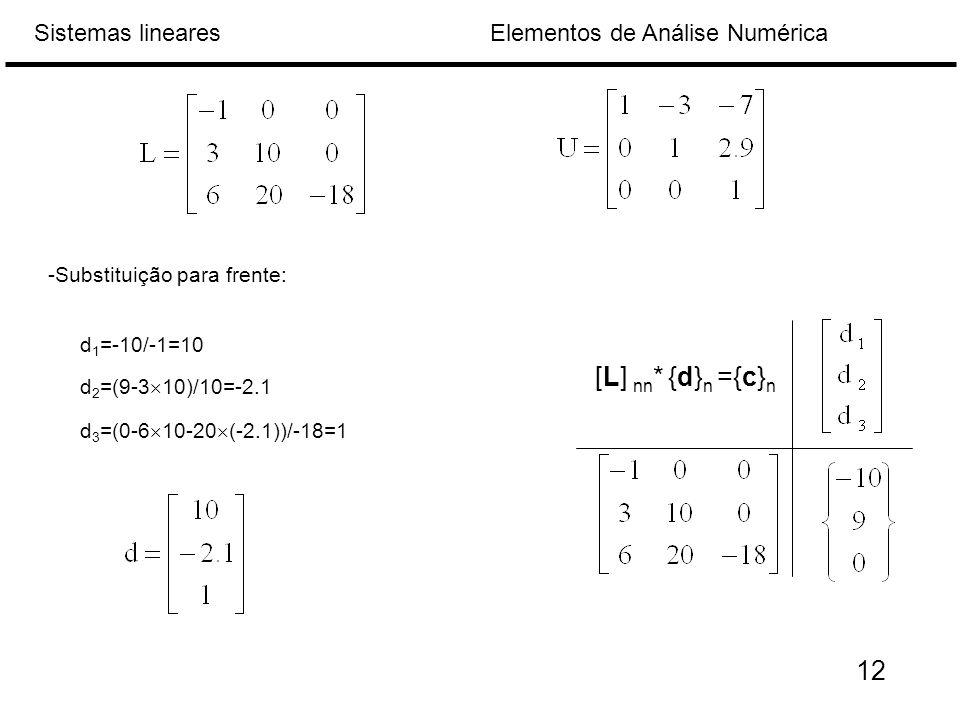 Elementos de Análise NuméricaSistemas lineares -Substituição para frente: [L] nn * {d} n ={c} n d 1 =-10/-1=10 d 2 =(9-3  10)/10=-2.1 d 3 =(0-6  10-20  (-2.1))/-18=1 12