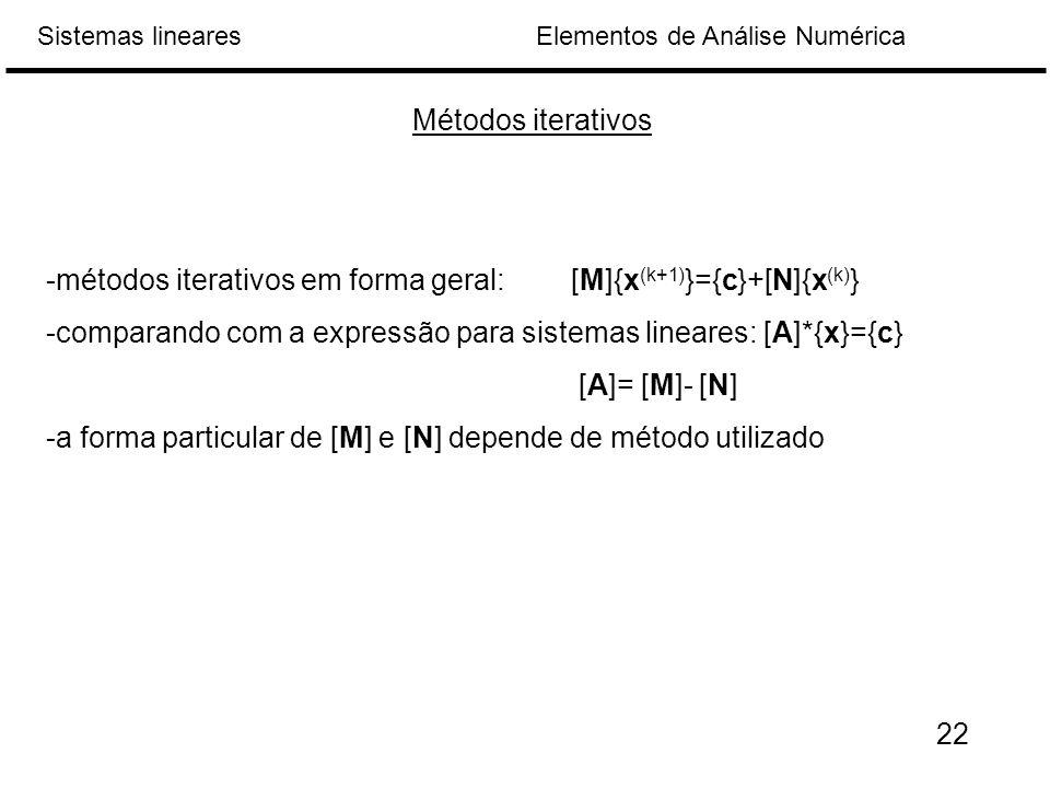 Elementos de Análise NuméricaSistemas lineares Métodos iterativos -métodos iterativos em forma geral:[M]{x (k+1) }={c}+[N]{x (k) } -comparando com a expressão para sistemas lineares: [A]*{x}={c} [A]= [M]- [N] -a forma particular de [M] e [N] depende de método utilizado 22