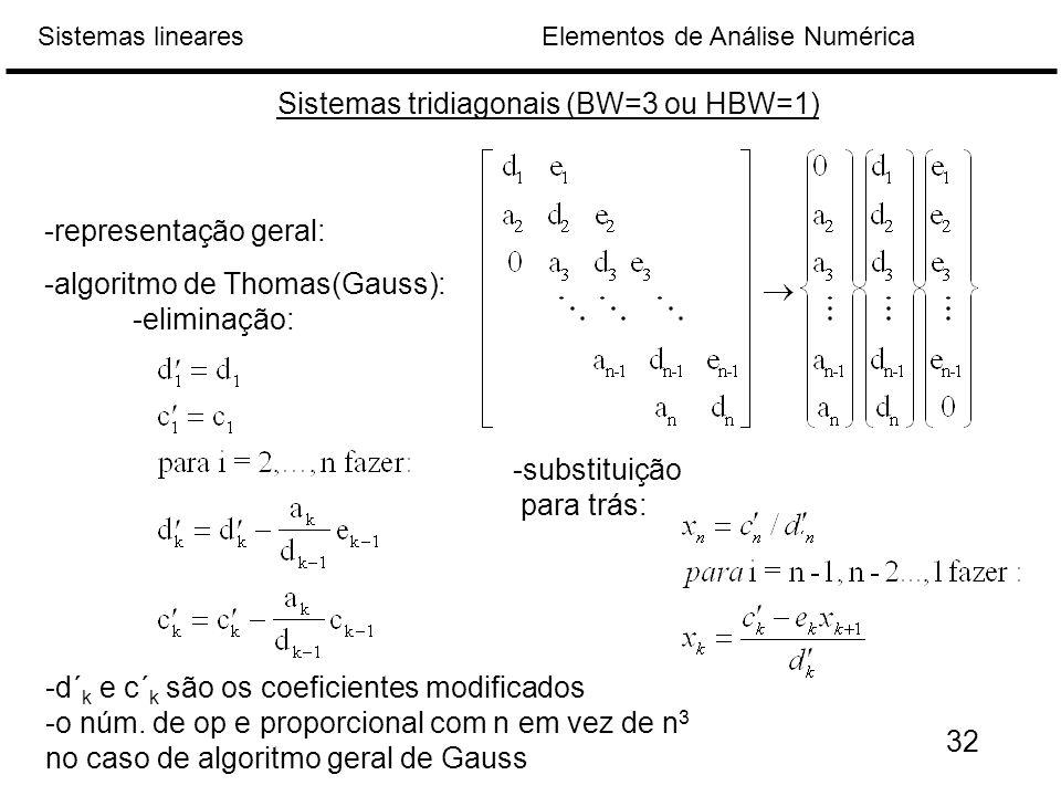 Elementos de Análise NuméricaSistemas lineares Sistemas tridiagonais (BW=3 ou HBW=1) -representação geral: -algoritmo de Thomas(Gauss): -eliminação: -d´ k e c´ k são os coeficientes modificados -o núm.