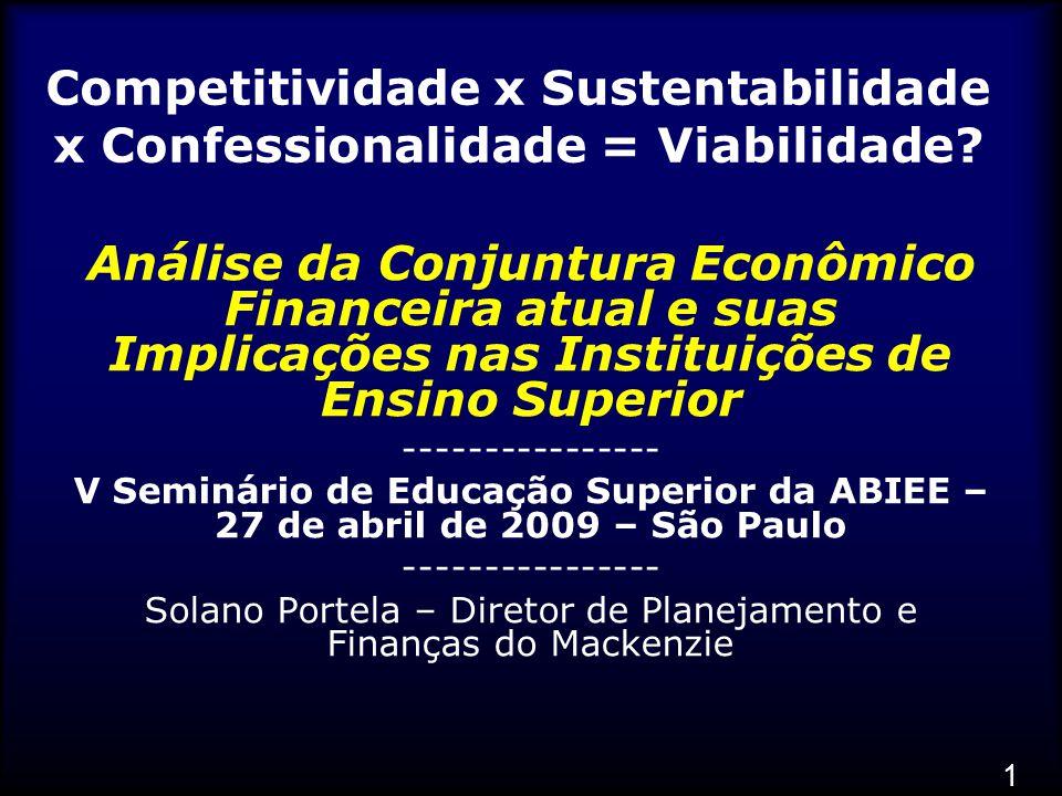 1 Competitividade x Sustentabilidade x Confessionalidade = Viabilidade.