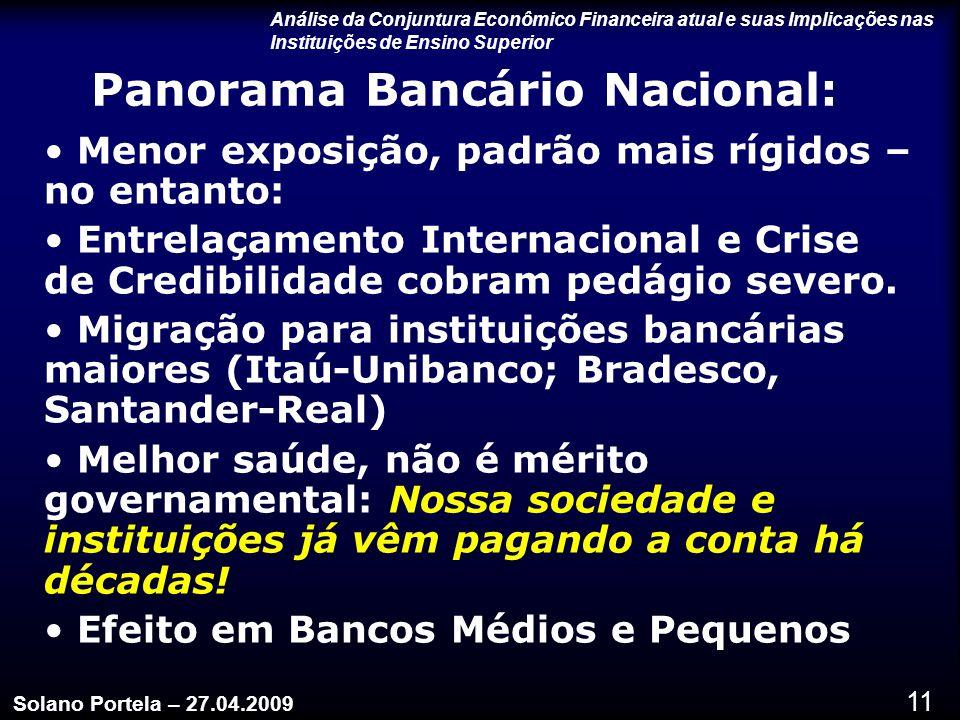 11 Panorama Bancário Nacional: Menor exposição, padrão mais rígidos – no entanto: Entrelaçamento Internacional e Crise de Credibilidade cobram pedágio severo.