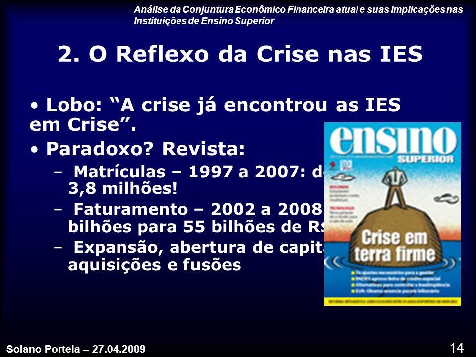 14 2.O Reflexo da Crise nas IES Lobo: A crise já encontrou as IES em Crise .