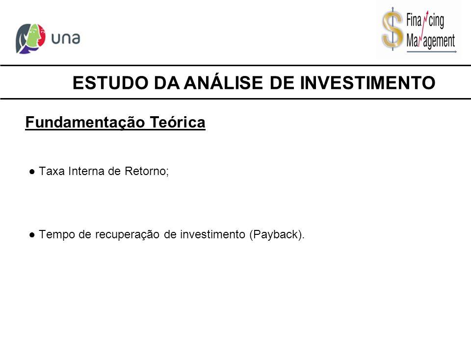 ● Taxa Interna de Retorno; ● Tempo de recuperação de investimento (Payback). ESTUDO DA ANÁLISE DE INVESTIMENTO Fundamentação Teórica