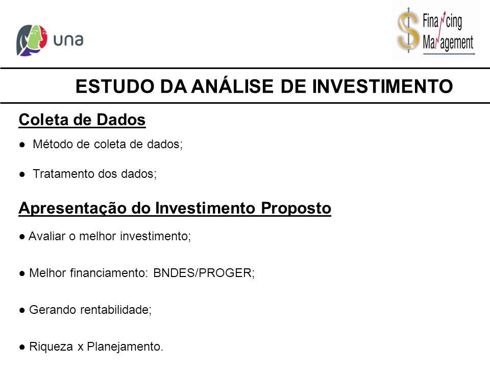 Coleta de Dados ● Método de coleta de dados; ● Tratamento dos dados; Apresentação do Investimento Proposto ● Avaliar o melhor investimento; ● Melhor f