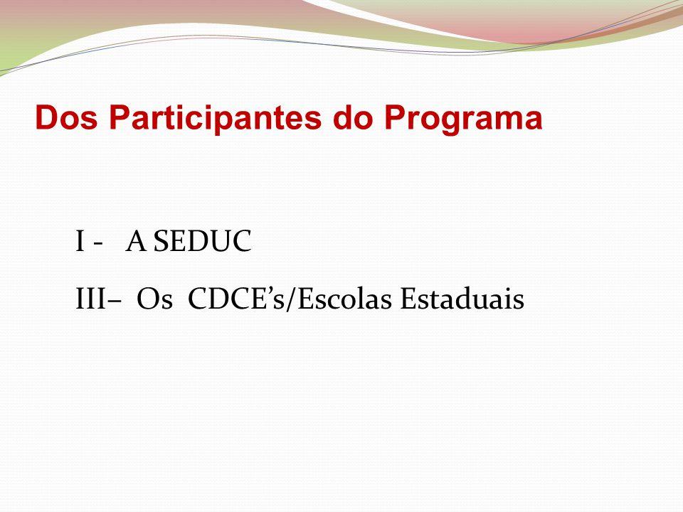 DA SEDUC A-Repassar recursos financeiros aos CDCE's Escolas Estaduais em quatro parcelas anual (trimestralmente).