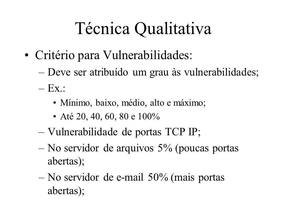 Técnica Qualitativa Critério para Vulnerabilidades: –Deve ser atribuído um grau às vulnerabilidades; –Ex.: Mínimo, baixo, médio, alto e máximo; Até 20