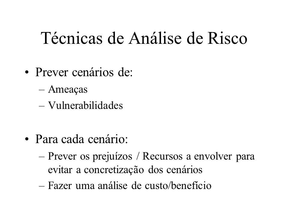 Técnicas de Análise de Risco Prever cenários de: –Ameaças –Vulnerabilidades Para cada cenário: –Prever os prejuízos / Recursos a envolver para evitar