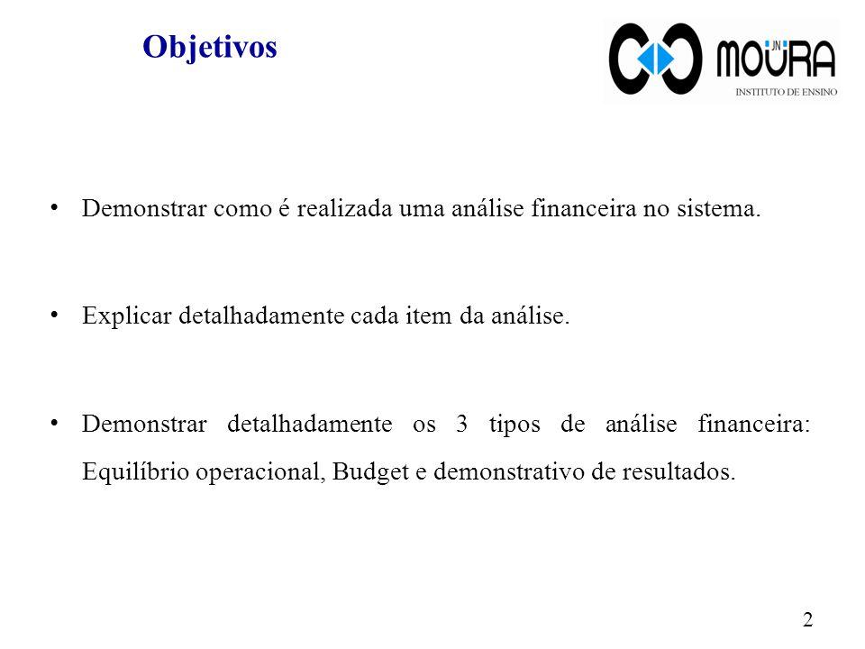 Objetivos Demonstrar como é realizada uma análise financeira no sistema.