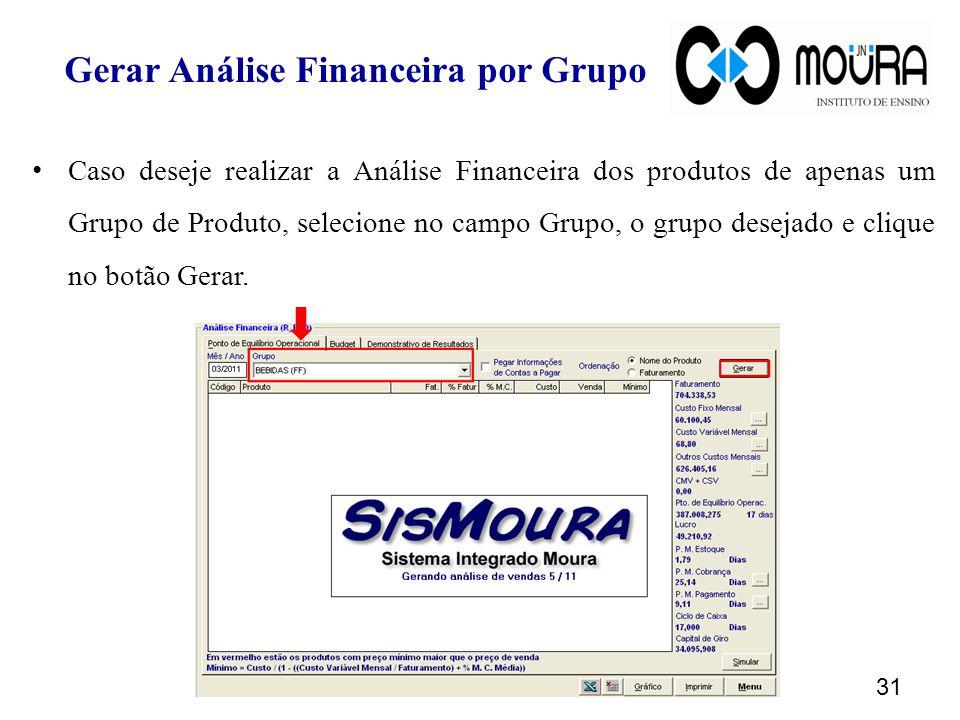 Gerar Análise Financeira por Grupo Caso deseje realizar a Análise Financeira dos produtos de apenas um Grupo de Produto, selecione no campo Grupo, o grupo desejado e clique no botão Gerar.