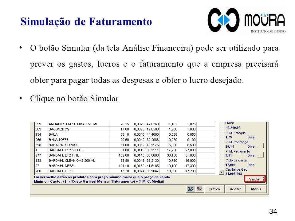 Simulação de Faturamento O botão Simular (da tela Análise Financeira) pode ser utilizado para prever os gastos, lucros e o faturamento que a empresa precisará obter para pagar todas as despesas e obter o lucro desejado.