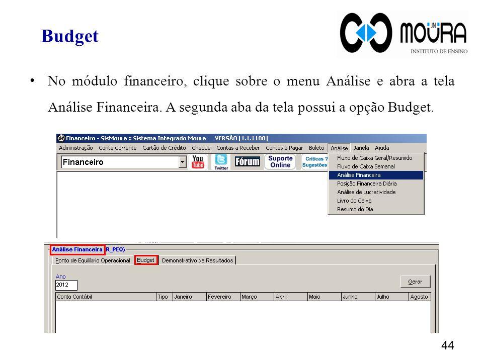 44 No módulo financeiro, clique sobre o menu Análise e abra a tela Análise Financeira.