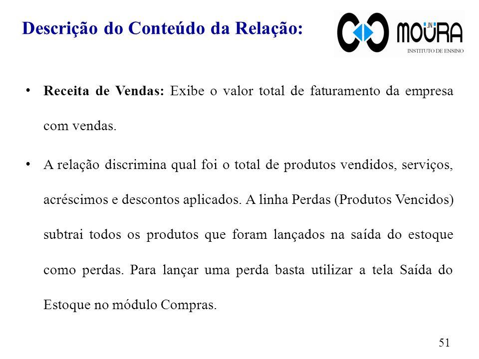 Descrição do Conteúdo da Relação: Receita de Vendas: Exibe o valor total de faturamento da empresa com vendas.