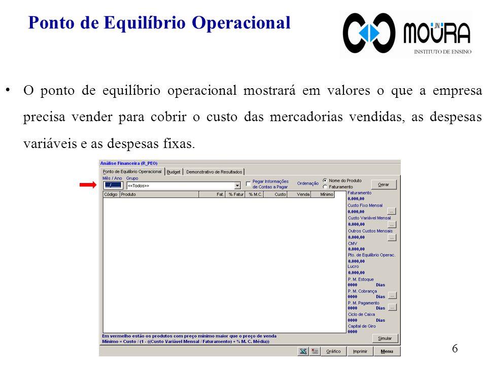 PEO por Conta Contábil Selecione as contas contábeis que serão analisadas e pressione o botão Confirmar.