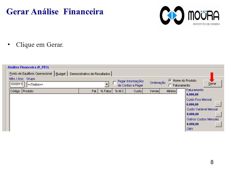 Recalcular Análise de Vendas Ao clicar sobre o botão Gerar o sistema exibirá uma mensagem igual a imagem abaixo, para que a seja recalculada a análise de vendas do mês informado.