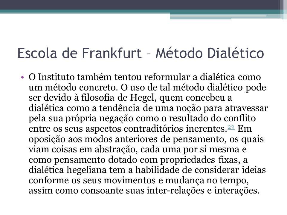 Escola de Frankfurt – Método Dialético O Instituto também tentou reformular a dialética como um método concreto. O uso de tal método dialético pode se