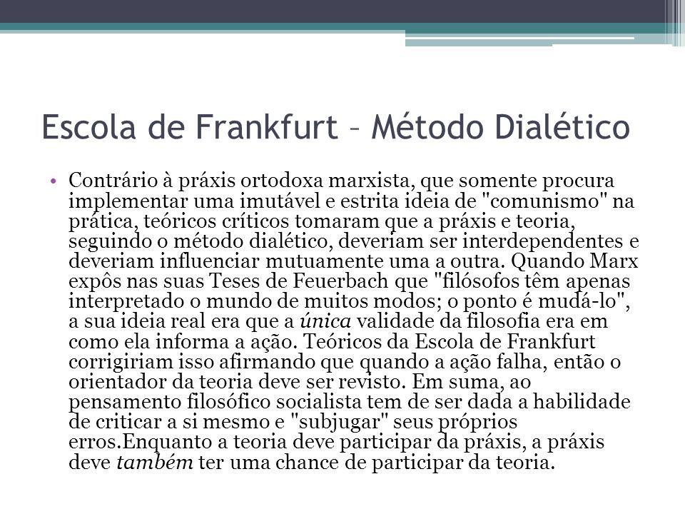 Escola de Frankfurt – Método Dialético Contrário à práxis ortodoxa marxista, que somente procura implementar uma imutável e estrita ideia de
