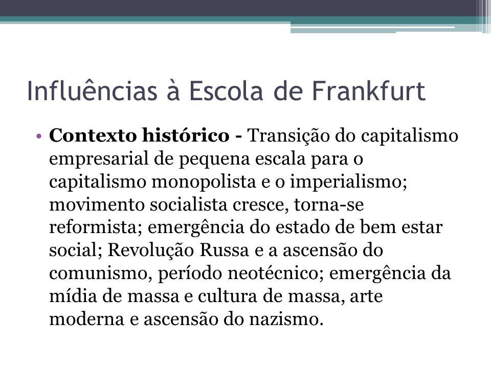 Influências à Escola de Frankfurt Contexto histórico - Transição do capitalismo empresarial de pequena escala para o capitalismo monopolista e o imper