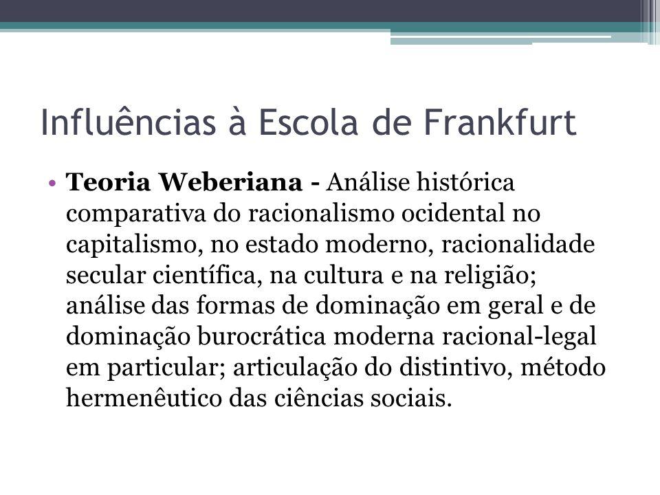 Influências à Escola de Frankfurt Teoria Weberiana - Análise histórica comparativa do racionalismo ocidental no capitalismo, no estado moderno, racion