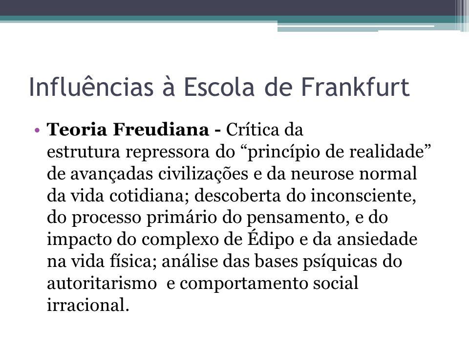 """Influências à Escola de Frankfurt Teoria Freudiana - Crítica da estrutura repressora do """"princípio de realidade"""" de avançadas civilizações e da neuros"""