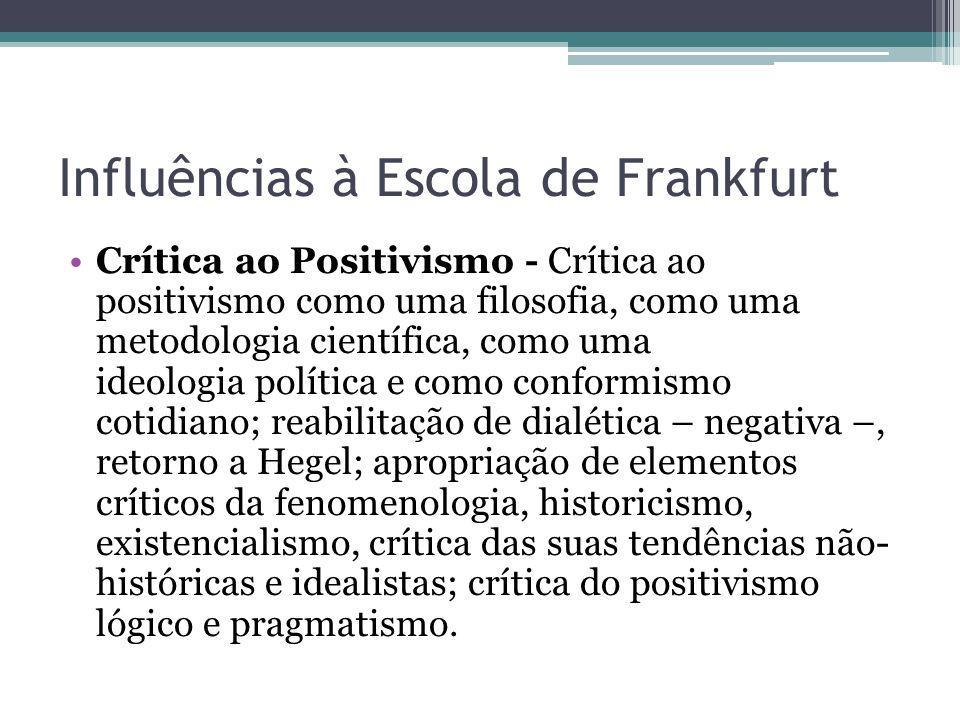 Influências à Escola de Frankfurt Crítica ao Positivismo - Crítica ao positivismo como uma filosofia, como uma metodologia científica, como uma ideolo