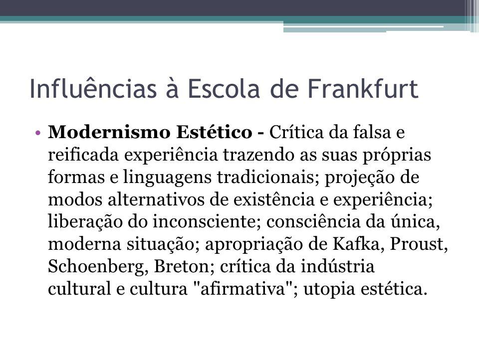 Influências à Escola de Frankfurt Modernismo Estético - Crítica da falsa e reificada experiência trazendo as suas próprias formas e linguagens tradici