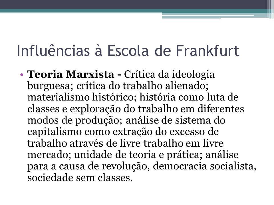 Influências à Escola de Frankfurt Teoria Marxista - Crítica da ideologia burguesa; crítica do trabalho alienado; materialismo histórico; história como