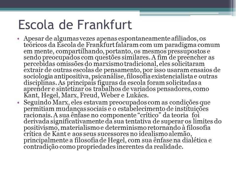 Escola de Frankfurt Desde a década de 1960, a teoria crítica da Escola de Frankfurt tem sido crescentemente guiada pelo trabalho de Jürgen Habermas na razão comunicativa, intersubjetividade linguistica e o que Habermas chama de discurso filosófico da modernidade.