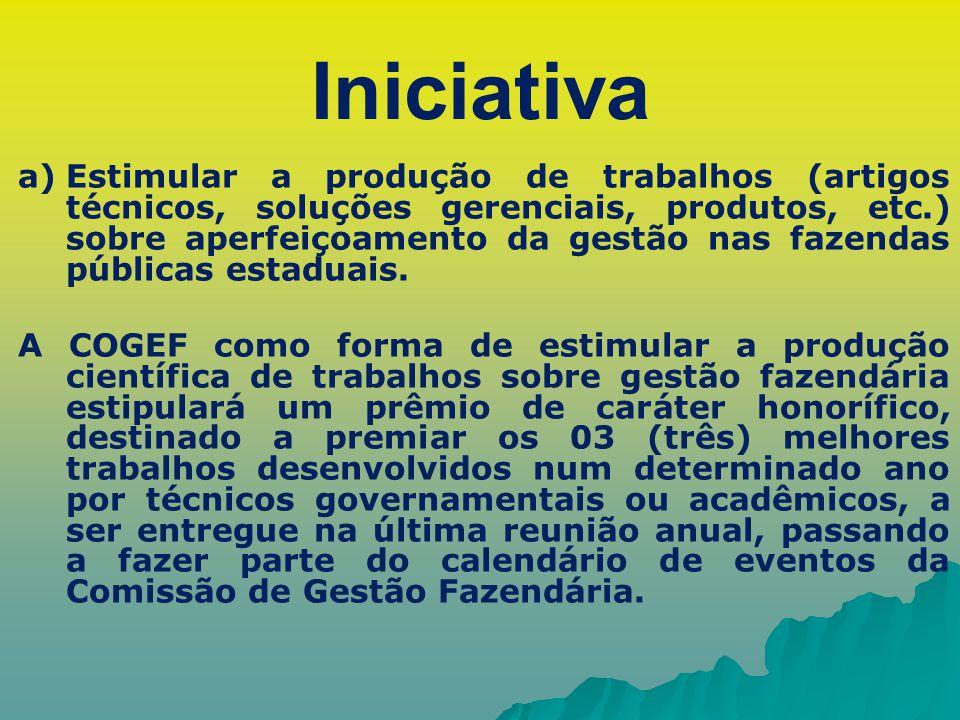 Iniciativa a) a)Estimular a produção de trabalhos (artigos técnicos, soluções gerenciais, produtos, etc.) sobre aperfeiçoamento da gestão nas fazendas
