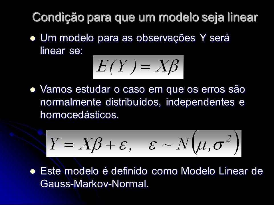 Condição para que um modelo seja linear Um modelo para as observações Y será linear se: Um modelo para as observações Y será linear se: Este modelo é definido como Modelo Linear de Gauss-Markov-Normal.