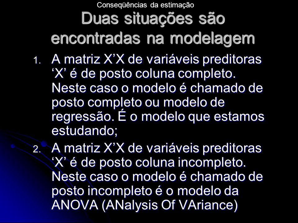 Duas situações são encontradas na modelagem 1.