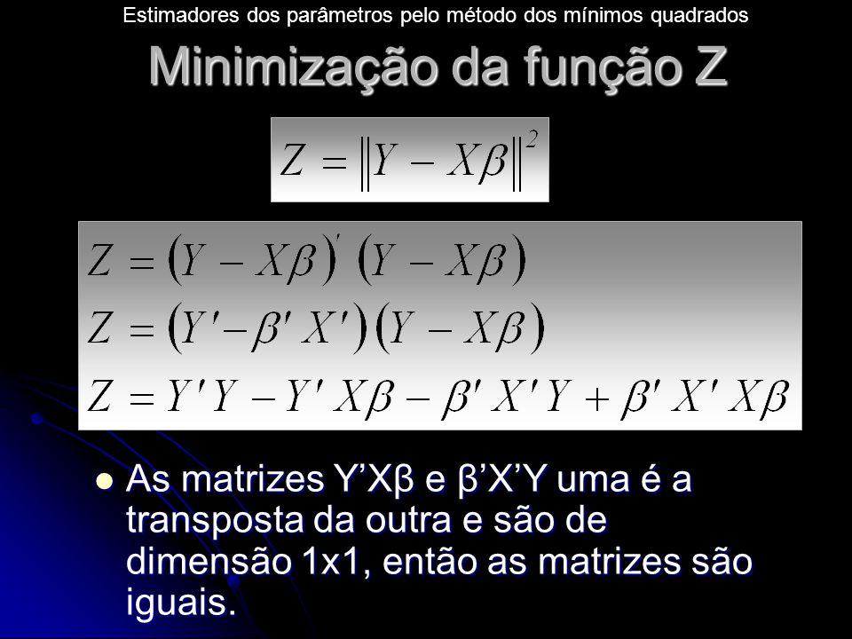 Minimização da função Z As matrizes Y'Xβ e β'X'Y uma é a transposta da outra e são de dimensão 1x1, então as matrizes são iguais.