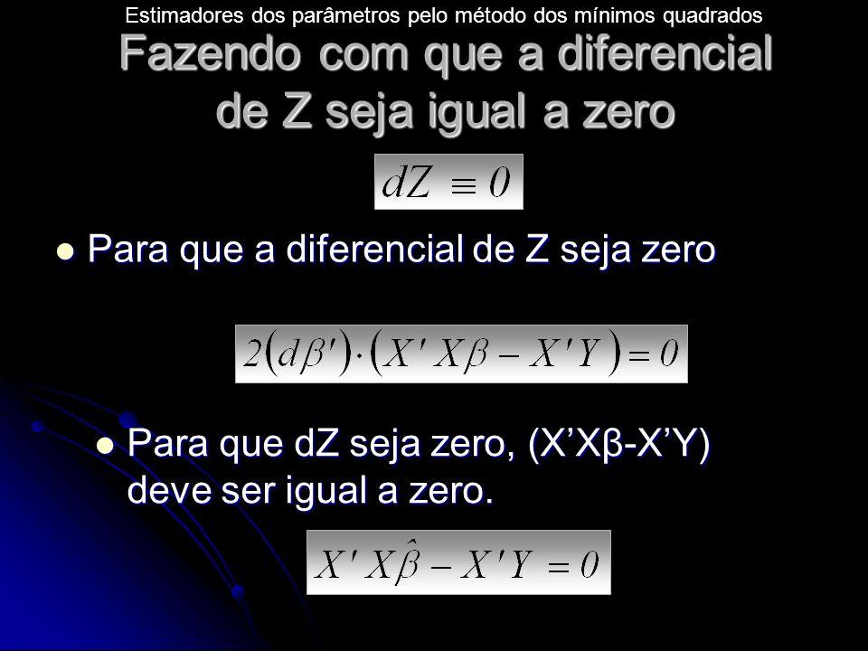 Fazendo com que a diferencial de Z seja igual a zero Para que a diferencial de Z seja zero Para que a diferencial de Z seja zero Para que dZ seja zero, (X'Xβ-X'Y) deve ser igual a zero.
