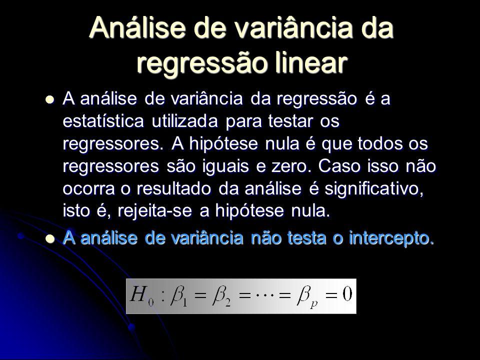 A análise de variância da regressão é a estatística utilizada para testar os regressores.