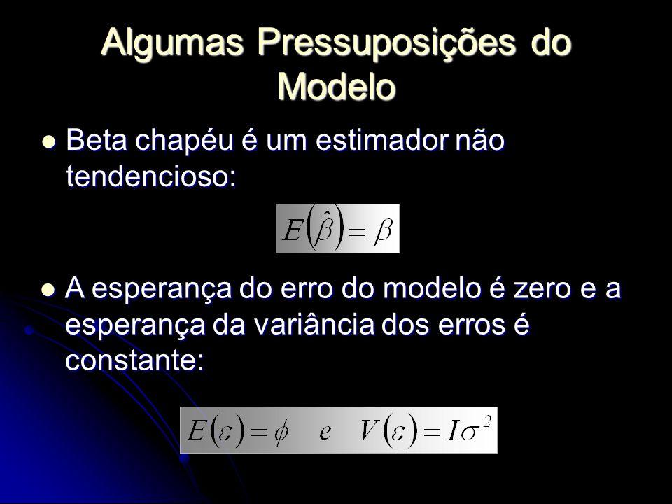Algumas Pressuposições do Modelo Beta chapéu é um estimador não tendencioso: Beta chapéu é um estimador não tendencioso: A esperança do erro do modelo é zero e a esperança da variância dos erros é constante: A esperança do erro do modelo é zero e a esperança da variância dos erros é constante: