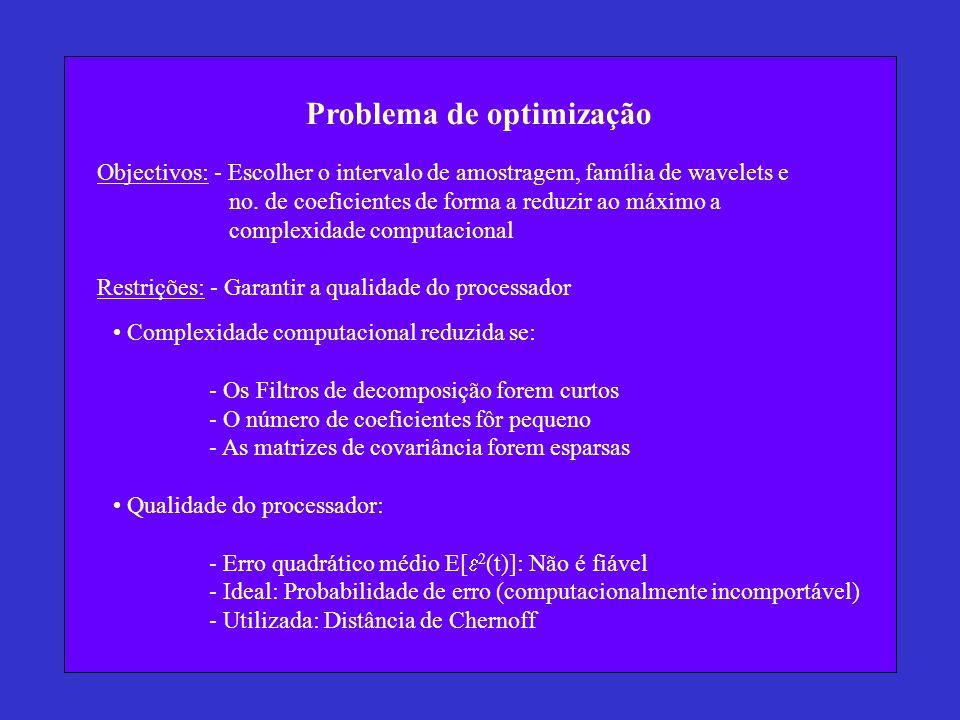 Problema de optimização Objectivos: - Escolher o intervalo de amostragem, família de wavelets e no. de coeficientes de forma a reduzir ao máximo a com