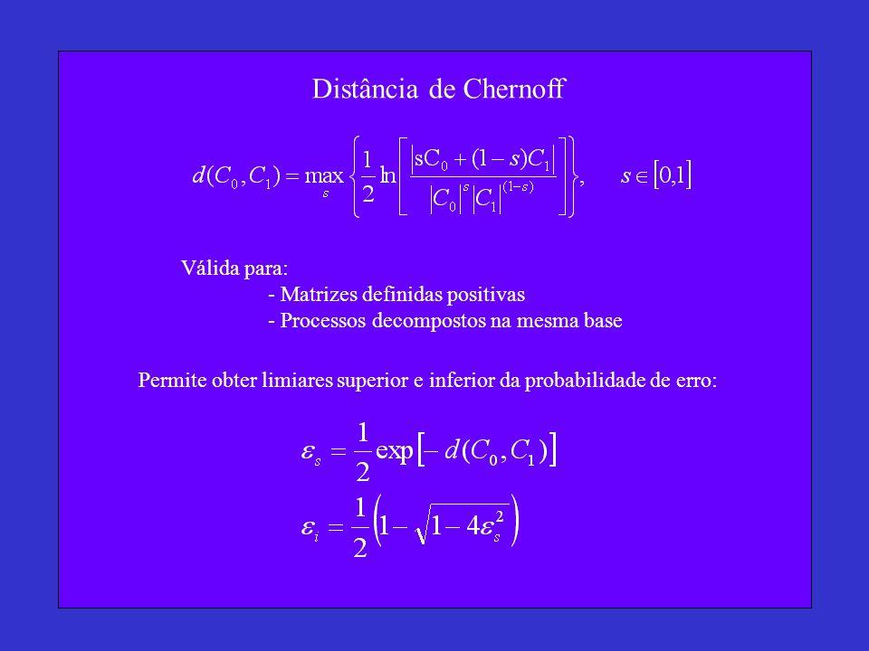 Distância de Chernoff Válida para: - Matrizes definidas positivas - Processos decompostos na mesma base Permite obter limiares superior e inferior da probabilidade de erro:
