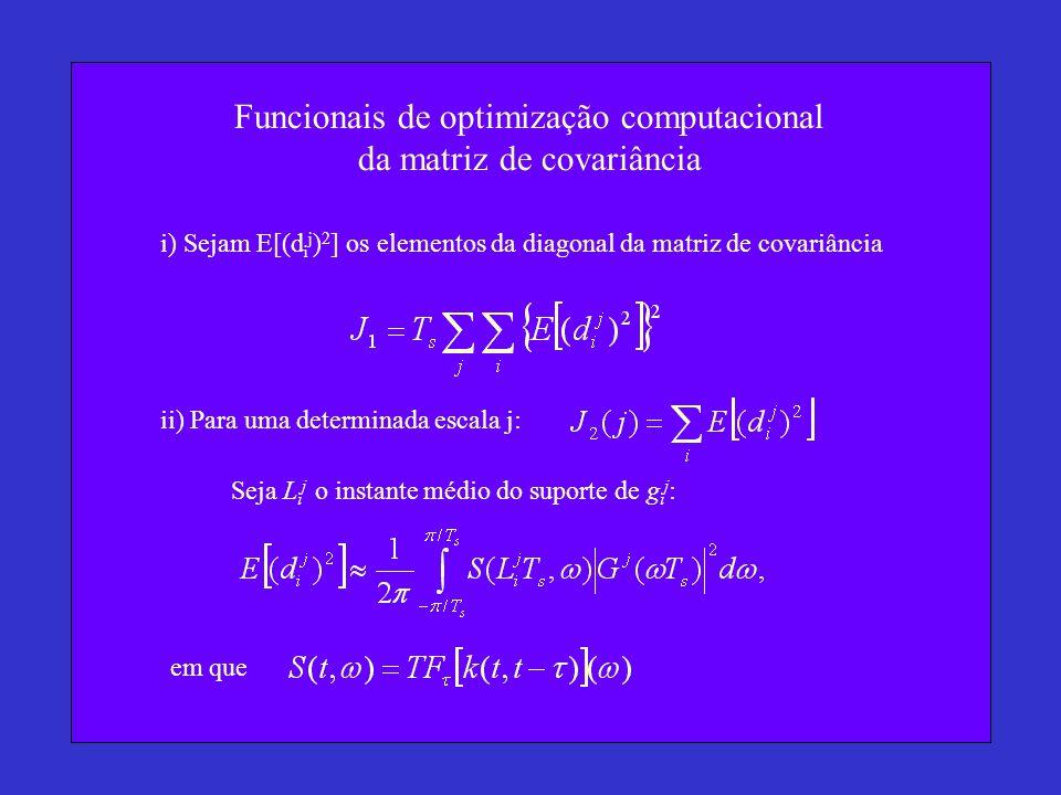 Funcionais de optimização computacional da matriz de covariância i) Sejam E[(d i j ) 2 ] os elementos da diagonal da matriz de covariância ii) Para uma determinada escala j: Seja L i j o instante médio do suporte de g i j : em que