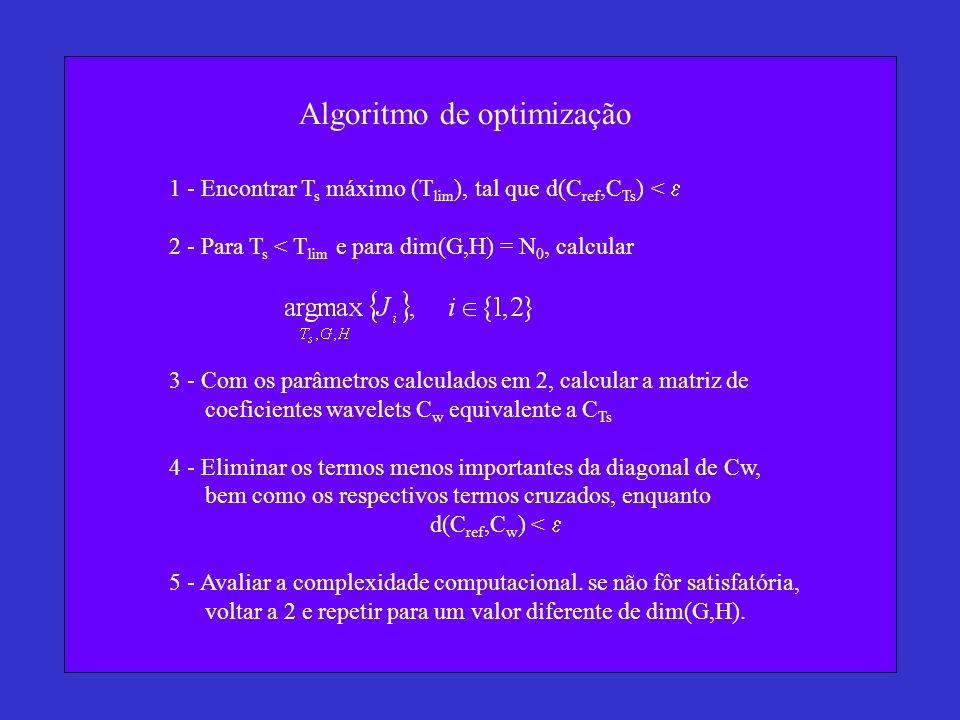 Algoritmo de optimização 1 - Encontrar T s máximo (T lim ), tal que d(C ref,C Ts ) <  2 - Para T s < T lim e para dim(G,H) = N 0, calcular 3 - Com os parâmetros calculados em 2, calcular a matriz de coeficientes wavelets C w equivalente a C Ts 4 - Eliminar os termos menos importantes da diagonal de Cw, bem como os respectivos termos cruzados, enquanto d(C ref,C w ) <  5 - Avaliar a complexidade computacional.